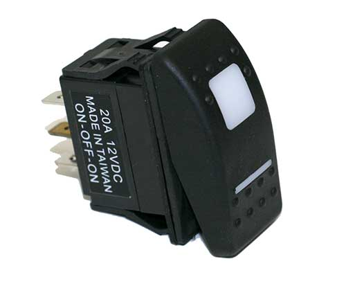 20 AMP @ 12 Volt On/Off/On D.P.D.T. Carling Style Rocker Switches 20 AMP @ 12 Volt D.P.D.T. Carling Style Rocker Switches